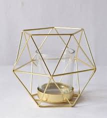buy gold metal glass geometric small candle holder by home