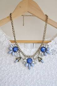 light blue statement necklace blue jewel crystal statement necklace by anneemmajewelry on etsy