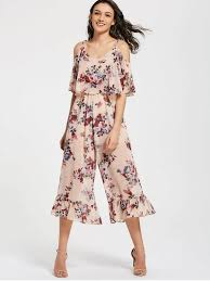 s jumpsuits floral overlap cold shoulder jumpsuit floral jumpsuits rompers