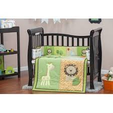 Green And Brown Crib Bedding by Dream On Me Safari Animals Portable 3 Piece Crib Bedding Set