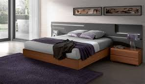 lacquered made in spain wood high end platform bed with lights san