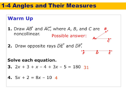 1 4 angles and their measures holt geometry warm up warm up lesson
