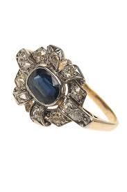 verlobungsring berlin 18 ct gold platin déco ring mit saphir diamanten um 1930