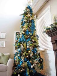 trees decorated in blue silver and white cheminee website