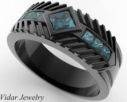 men wedding bands mens wedding band black gold princess cut blue diamonds vidar