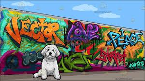 a bichon frise pet dog with a graffiti wall background cartoon a bichon frise pet dog with a graffiti wall background