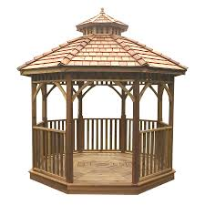 Lowes Patio Gazebo by Shop Outdoor Living Today Natural Cedar Wood Gazebo Foundation