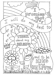 rainbow promise colouring sheet girlguiding guides vintage