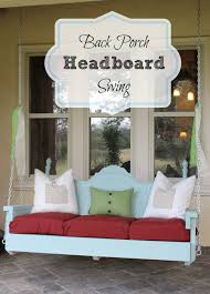 Porch Swing With Cushions Furniture Charming Porch Swings In Blue With Decorative Headboard