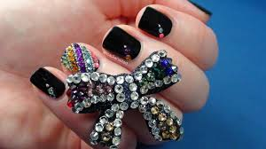 easy rhinestone nail designs for short nails to do at home