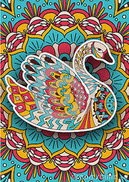 printable coloring book adults swan design activity