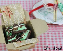 bubble and sweet peppermint cookie fudge