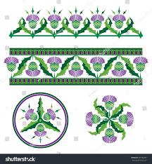 scottish thistle vector borders ornaments stock vector 337726757