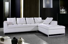 white tufted leather modern sectional sofa w pillows