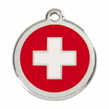 Flag Red With White Cross Swiss Cross Flag Pet Dog Cat Id Tag Personalised Engraved Steel