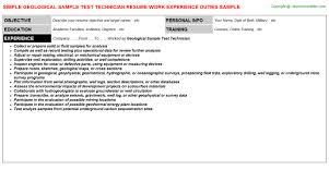 geological sample test technician resume sample