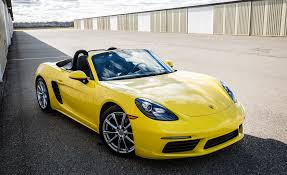 yellow porsche boxster 2017 porsche 718 boxster pdk automatic test u2013 review u2013 car and driver