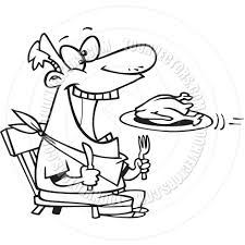 cartoon man eating turkey black and white line art by ron