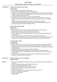 resume for exle collections clerk resume sles velvet