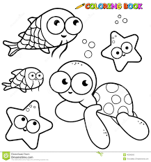 coloring book sea animals set stock vector image 40390693
