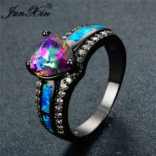 vintage fashion rings images Junxin charm multicolor heart zircon blue white pink fire opal jpg