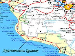 Street Map Of San Jose Costa Rica by Esterillos Costa Rica Map Apartamentos Iguanas Vacation Rentals