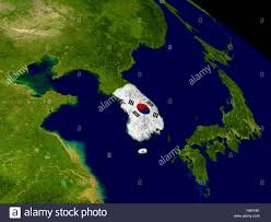 Planet Map Map Of South Korea With Embedded Flag On Planet Surface 3d Stock
