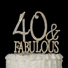 rhinestone number cake toppers 40 fabulous cake topper gold 40 birthday decorations 40
