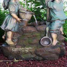 Outdoor Water Features With Lights by Sunnydaze Children At The Well Outdoor Water Fountain