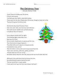 reading comprehension worksheet the christmas tree