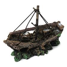focuspet aquarium fish tank shipwreck lost cruise ship landscape