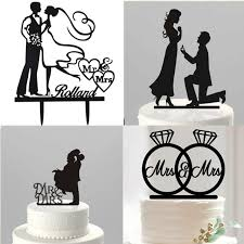 wedding cake decorating supplies cake topper silhouette acrylic black mr mrs groom