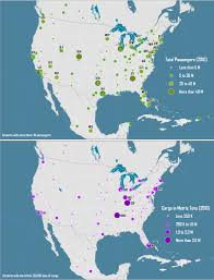 Chicago Airports Map by Passenger And Freight Traffic At North American Airports 2010
