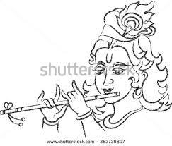 shadow art shri krishna playing flute stock vector 82686718