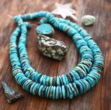 real turquoise necklace images Free form graduated turquoise disc beads 16 quot strand nature beads jpg