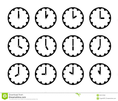 set of clock faces simple black icons for every hour on white