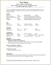 Resume Template For Actors by Acting Resumes Templates 100rescommunities Org