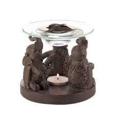 Tea Light Oil Warmer Wholesale Unique Bronze Tone Elephants Oil Burner Three Elephants
