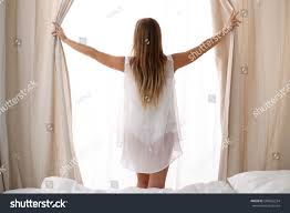 At Home Curtains Happy Woman Opening Window Curtains Home Stock Photo 586562234