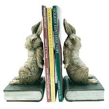 rabbit bookends pushing rabbit bunny bookends