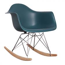 charles ray eames style rar rocking chair teal