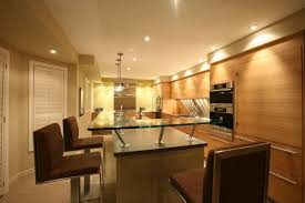 elegant modern kitchen design with massive recessed lighting