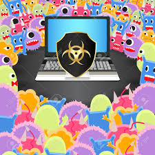 protection siege virus computer siege a laptop computer with antivirus protection