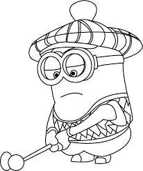 despicable me golfer minions coloring page wecoloringpage