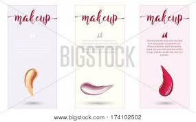 makeup design template with place for text cosmetic concept of liquid foundation and lipstick smear