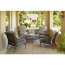 hampton bay lynnfield 5 piece patio conversation set with gray