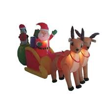 Lighted Deer Lawn Ornaments by Amazon Com 8 5 U0027 Airblown Inflatable Santa On Sleigh W Reindeer
