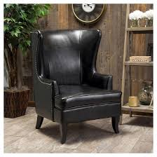Leather High Back Armchair Canterburry Upholsetered High Back Wing Chair Christopher Knight
