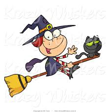 vector kitty clipart cute witch black cat broomstick