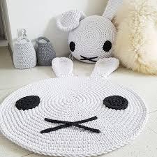 Funny Area Rugs Handmade Funny Bunny White Round 3d Nursery Crochet Rug Washable